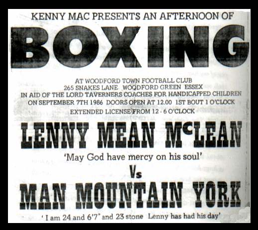 Lenny 'The Guvnor' Mclean vs Man Mountain York